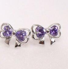 Lady Girl Women White Gold Plated Lilac Purple Big Bow CZ Cubic Stud Earrings