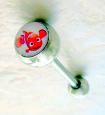 "Finding Nemo Fish LOGO Tongue Barbell 14g 5/8""  Body Piercing Jewelry"