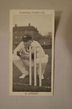 1953 - Vintage - Morning Foods Ltd. - Cricket Card - G.Langley - South Australia