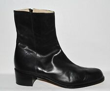 ANDRE ASSOUS SZ 10 M BLACK LEATHER ANKLE BOOTS BOOTIES ITALY