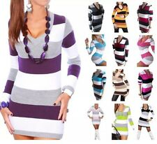 Womens Ladies Striped Sweater Long Knitted Jumper V Neck Dress Top 8 10 12 14