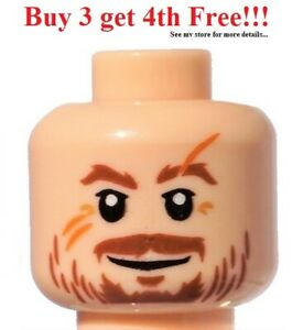 ☀️NEW Lego Minifigure Head Light Flesh Brown Beard Scars Scratches Moustache