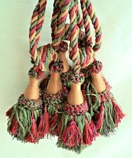 "3 Pair Vintage Big Thick Drapery 6"" Tassels Luxurious Red Camel Green 28"" Spread"