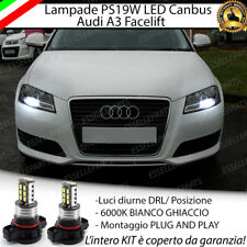 COPPIA LUCI DIURNE DRL 15 LED PS19W CANBUS AUDI A3 8P FACELIFT 6000K NO ERROR