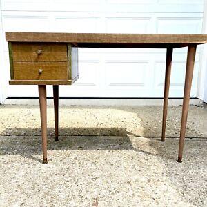 Vintage Danish Style Mid Century Modern Formica Wood Desk Single Drawer