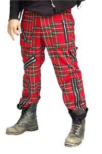 Tiger of London Mens FB Red Tartan Zip Pants. Punk Rock