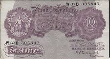 United Kingdom 10/-  ND. 1940's  P 366  Series W37D  circulated Banknote E22S