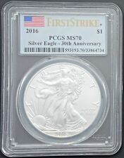 2016 Silver American Eagle $1 Coin MS 70 PCGS First Strike Flag Label FREE S/H