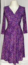 Chaps Womens Size M Dress Purple Stretch Knit Fitted Confetti
