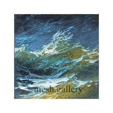 646 -1x1 MINIATURE ORIGINAL OIL PAINTING SEASCAPE FINE ART Atlantic Ocean Storm