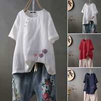 Women Linen Cotton Vintage Embroidery Shirt Floral Blouse Shirt Tops T-Shirt Tee