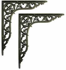 "Pair of 12""/30cm Large Cast Iron Centre Point Shelf Brackets period wall support"