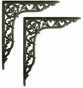 """Pair of 12""""/30cm Large Cast Iron Centre Point Shelf Brackets period wall support"""