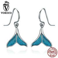 Voroco Blue Mermaid Tail 925 Sterling Silver Hook Dangle Earrings Women Jewelry