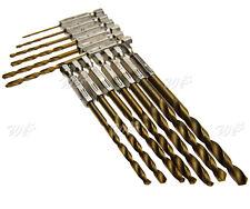 13pcs Different Size Titanium Coated High Speed Steel Hex Shank Drill Bit