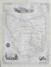 C1854 TAZMANIA Australia VAN DIEMEN'S ISLAND Autentico Antico Mappa da RAPKIN