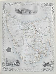c1854 TAZMANIA AUSTRALIA VAN DIEMEN'S ISLAND Genuine Antique Map by Rapkin