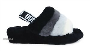 UGG Fluff Yeah Slide Black Multi Fur Slippers Womens Size 8 *NEW*