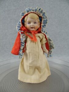 "7"" vintage jointed all bisque character girl doll JAPAN Red Riding Hood"