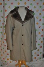 STUDIO ONE CAMPUS pile lined winter all weather  Khaki  over COAT MEN 44 LONG