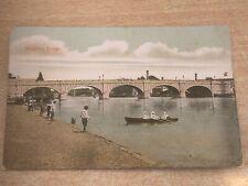 Kingston Bridge, London, Coloured Photo Postcard Stamped 1907