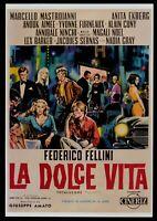 Plakat Die Süßes Leben Friedrich Fellini Anita Ekberg Marcello Mastroianni B E50