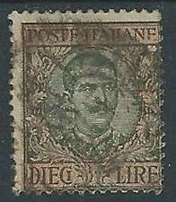 1910 REGNO USATO FLOREALE 10 LIRE VARIETà POSTE ITALIANE - U44-6