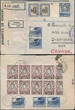 KUT TANGANYIKA REGISTERED AIRMAIL to CANADA...CENSORED 1945 + BLOCK + SURCHARGES