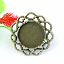 8pcs Antique Bronze Alloy Round Pattern Adjustable Cameo Setting Ring 17*17mm