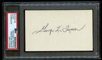 George McQuinn (d 1978) signed autograph 3x5 index card Baseball Player PSA Slab