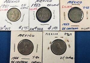 5 Mexico 25-Centavo Coins ~ 3 Silver(1951, 1953(2)) & 1964(2)