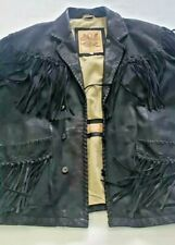 Vintage Joseph Abboud Just One Earth Fringed Distressed Leather Jacket Sz XL