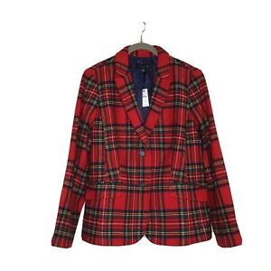 Talbots Red Plaid Shetland Wool Blazer 12 NWT
