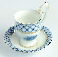 """Russian Imperial Lomonosov DESIGN Porcelain Cobalt Net Demi Cup & Saucer 4.5"""" H"""