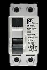 MK 100 AMP 30mA DOUBLE POLE RCD LN7700s
