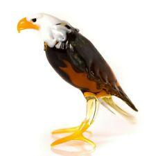 American Eagle Glass Figurine, Blown Art, White and Yellow Bird Sculpture