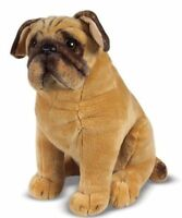 Pug Dog Soft Plush Cuddly Toy Dog Real Life Size 32 cm New Tagged brown