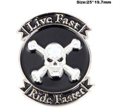 Biker Skull Badge Pin Crossbones Jolly Roger Mortorcycle Live Fast Ride Faster