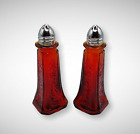 RUBY RED AMBERINA DEPRESSION STYLE GLASS FLORAL SALT & PEPPER SHAKERS, Vintage