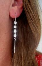 White Gold Plated 4 Large Round Clear CZ Dangle Drop Tassel Fringe Earrings