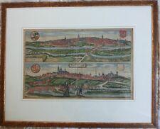 ESCHWEGE/FRITZLAR - Braun/Hogenberg - kolorierter Kupferstich ca 1580 mit Rahmen