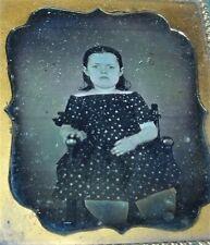 c1850 ANTIQUE VICTORIAN GIRL in DRESS DAGUERREOTYPE PHOTO HAUNTING FACE