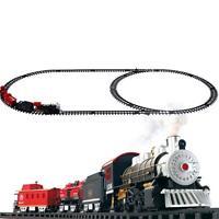 Smoke Railway Car Train Set Kids Educational Toys Battery Operated Xmas Gift
