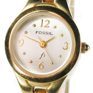 FOSSIL women's watch Model ES9143 Light silver round dial Gold tone case Quartz