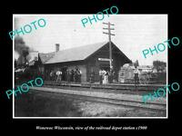 OLD LARGE HISTORIC PHOTO OF WONEWOC WISCONSIN, THE RAILROAD DEPOT STATION c1900