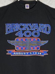 Vintage 1996 Brickyard 400 NASCAR Race T-Shirt SIZE Large made in USA Logo 7