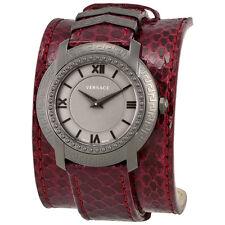 Versace DV25 Grey Dial Burgundy Leather Ladies Watch VAM070016
