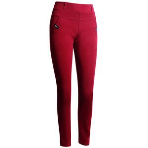 Damen Jeggings High Waist Hose Leggings Stretch Skinny Glitzer Rot L/XL
