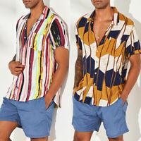 Luxury Mens Stylish Casual Dress Shirt Slim Fit T-Shirts Casual Short Sleeve HOT