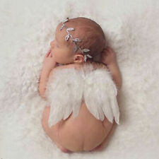 Newborn Baby White Angel Wings Headband Costume Photography Props Outfits H Q9M3